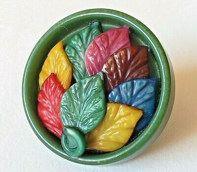 Vintage Button…Celluloid Weeber Type Multi-Color Multi-Component Leaves