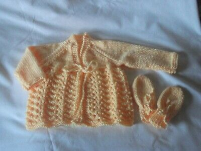 New hand knitted baby cardigan and mittens in silk mix 0-3 months