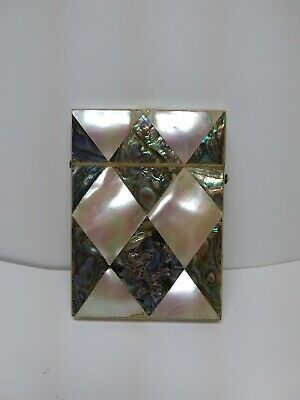 Antique Mother Of Pearl Abalone Vintage Business/Calling/Visiting Card Holder