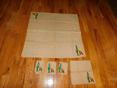 Southwest American Small Tablecloth w/ Matching Napkins Hand Painted Vintage