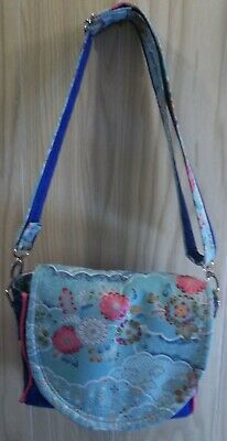 New Handmade Cross Body Or Shoulder Saddle Purse - Cotton In Blues & Pinks