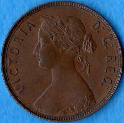 Canada Newfoundland 1876 H 1 Cent One Large Cent Coin - Nice EF