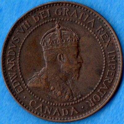 Canada 1907 H 1 Cent One Large Cent Coin - EF/AU