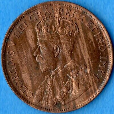 Canada 1914 1 Cent One Large Cent Coin - AU+ Nice Toning