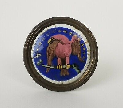 Rare 18Th Century American Eagle & Stars Battersea Enamel Color Tieback Nr