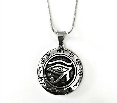 Antique Tarnish Stainless Steel Egypt Eye Of Horus Ra Udjat Pendant Necklace 24""
