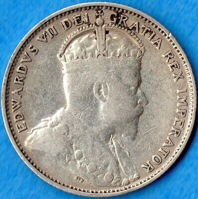 Canada Newfoundland 1904 H 20 Cents Twenty Cent Silver Coin - VG+ (cleaned)