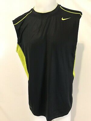 Nike Pro Combat Black and Neon Yellow Sleeveless Fitted Top, Men's Size XL