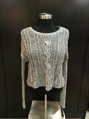 EUC Girls ABERCROMBIE KIDS Cable Knit Cropped Long Sleeve Sweater Gray Large