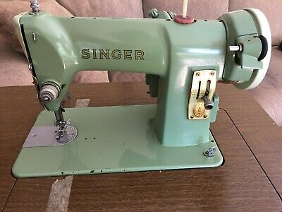 Vintage 1950s SINGER 185K 3/4 Size Heavy Duty Jadeite Green Sewing Machine