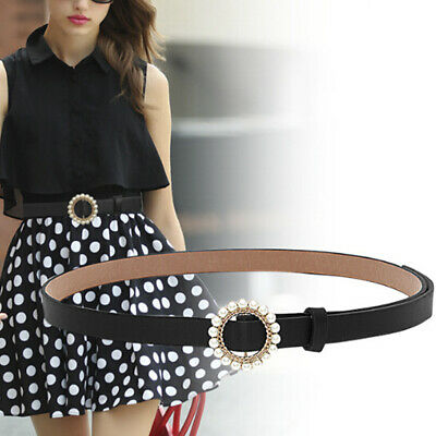 Women Girls Faux Leather Belt Round Ring  Pearl Buckle Waistband  Fashion FT