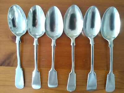 6 x Fiddle Style Silver Plated or Nickel Antique Vintage Spoons (Set T)
