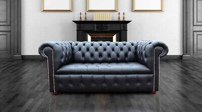 Chesterfield Edwardian 2 Seater Sofa Buttoned Seat Black Leather Silver Studding