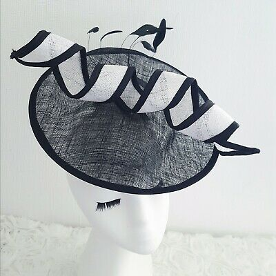 Large Black White Feather Fascinator Sinamay Saucer Hat Wedding Ascot Races
