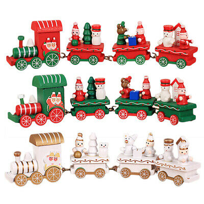 Christmas Wooden Little Train Decoration Party Decors Ornaments Kids Toys Cute