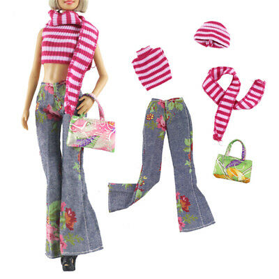 5Pcs/set Princess Dolls clothes suits toys dolls red stripes and jeans MD