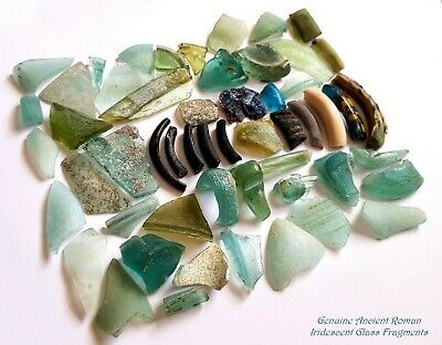 ⚱ 53 Ancient Roman • Iridescent Patina Glass Fragments • Israel • Holy Land #2 ⚱