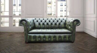Chesterfield Kensington 2 Seater Sofa Buttoned Seat Antique Green Real Leather
