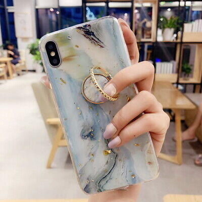 Case For iPhone XS Max XR X 8 7 Plus Marble Glitter Foil Ring Holder Soft Cover