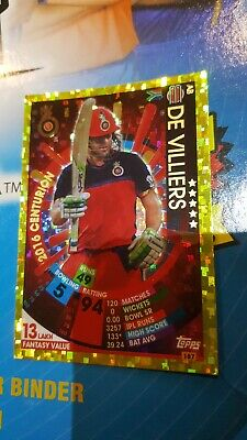 Topps VIVO IPL CRICKET ATTAX 2017 #187 AB De Villiers 2016 Centurion Gold Card