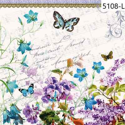 TWO New Paper Luncheon Decoupage Napkins - FLOWERS, ROSES, BUTTERFLY, (5108)