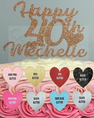 Glitter Cake Topper Personalised Any Name Word Birthday Party Writing Decoration