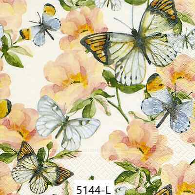 TWO New Paper Luncheon Decoupage Napkins - FLOWERS, FLOWER, BUTTERFLY, (5144)