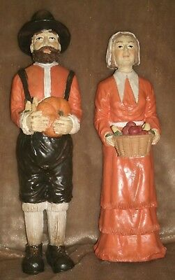 Thanksgiving Collection  Hand Painted  Pilgrim Man And Woman Resin Figurine Set