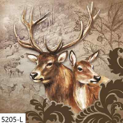 TWO New Paper Luncheon Decoupage Napkins - DEER, BUCK, DOE, FOREST, TREES (5205)