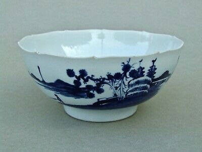 RARE! ANTIQUE ENGLISH 18th CENTURY LIVERPOOL PORCELAIN CHAFFERS CHINOISERIE BOWL