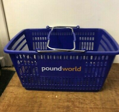 27L Blue Plastic Supermarket Shopping Basket w Metal Carry Handles 5 & 10 & 20