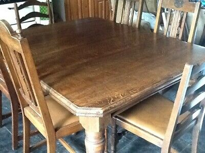 Large Victorian Antique Oak Wind Out Extendable Table  2 Leaves & 6 chairs