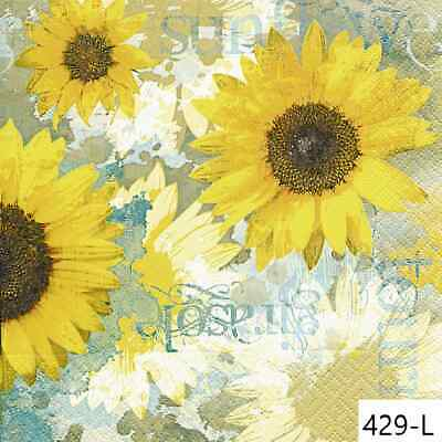 TWO New Paper Luncheon Decoupage Napkins - FLOWERS, SUNFLOWER, SUNFLOWERS, (429)