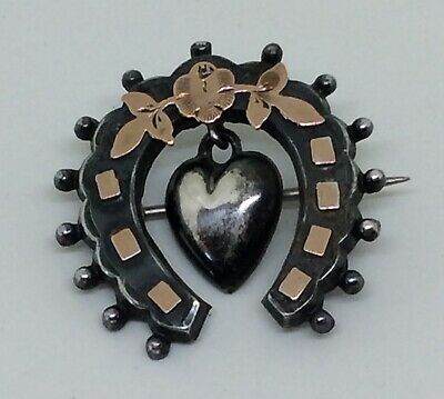 ANTIQUE VICTORIAN 15ct GOLD & SILVER SWEETHEART BROOCH - Chester 1897 - Unusual