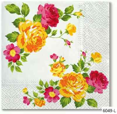 TWO New Paper Luncheon Decoupage Napkins - FLOWERS, ROSE, ROSES, FLOWER (6049)