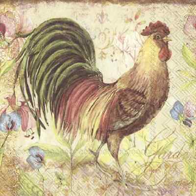 TWO New Paper Luncheon Decoupage Napkins - CHICKEN, ROOSTER, FLOWERS, (416)