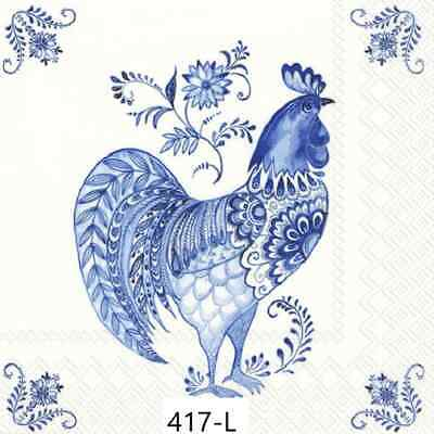 TWO New Paper Luncheon Decoupage Napkins - CHICKEN, ROOSTER, FLOWERS, (417)