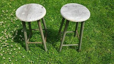 Pair Industrial Metal Legged Stalls stools