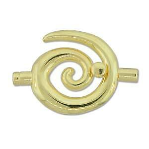 Spiral Glue In Toggle Clasp - Large - Gold Plate