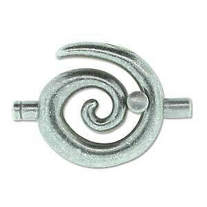 Spiral Glue In Toggle Clasp - Large - Antique Silver