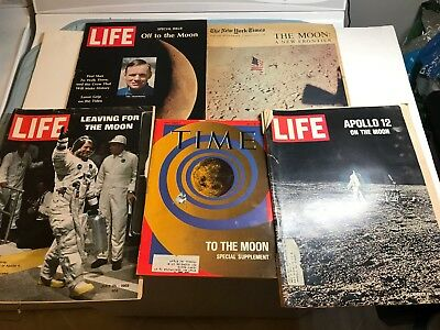 Lot of (5) On The Moon Magazines - Life & New York Times & TIME - Apollo 12