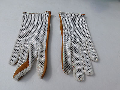 **Designer Ladies Cream Stretch Nylon & Camel Leather Gloves Unlined Size 6.0