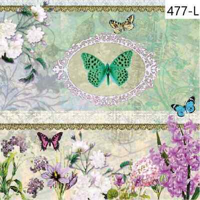 TWO New Paper Luncheon Decoupage Napkins - FLOWERS, BUTTERFLIES, ROSES, (477)