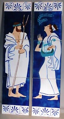 Vintage Mid-Century Modern Enamel Copper Classical Male Female Signed Painting