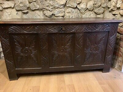 Early Antique  Oak Coffer With Hinged Lid