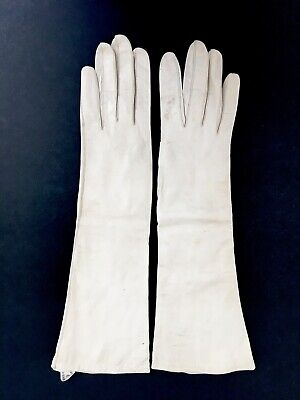 Vintage~1950'S~Made In France~Opera Length Ivory Leather Gloves~Silk Lined/6 1/2