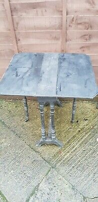 Antique Vintage Victorian Sutherland Side Table Ebonised Legs Brass Castors