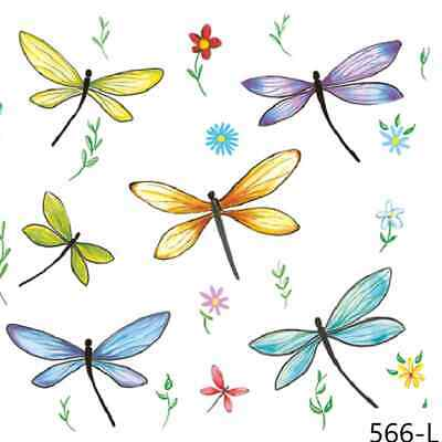 TWO New Paper Luncheon Decoupage Napkins - DRAGONFLY, DRAGONFLIES, FLOWERS (566)