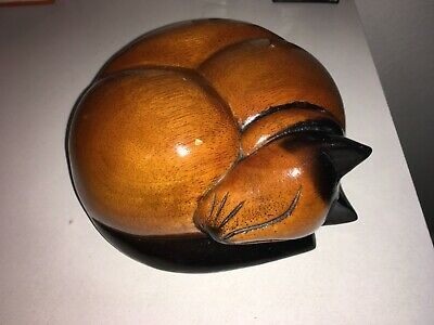 Handmade Wooden Carved Sleeping Cat Ornament or Urn