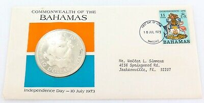 1973 Bahamas $10 Sterling Silver Coin First Day Cover Fdc.